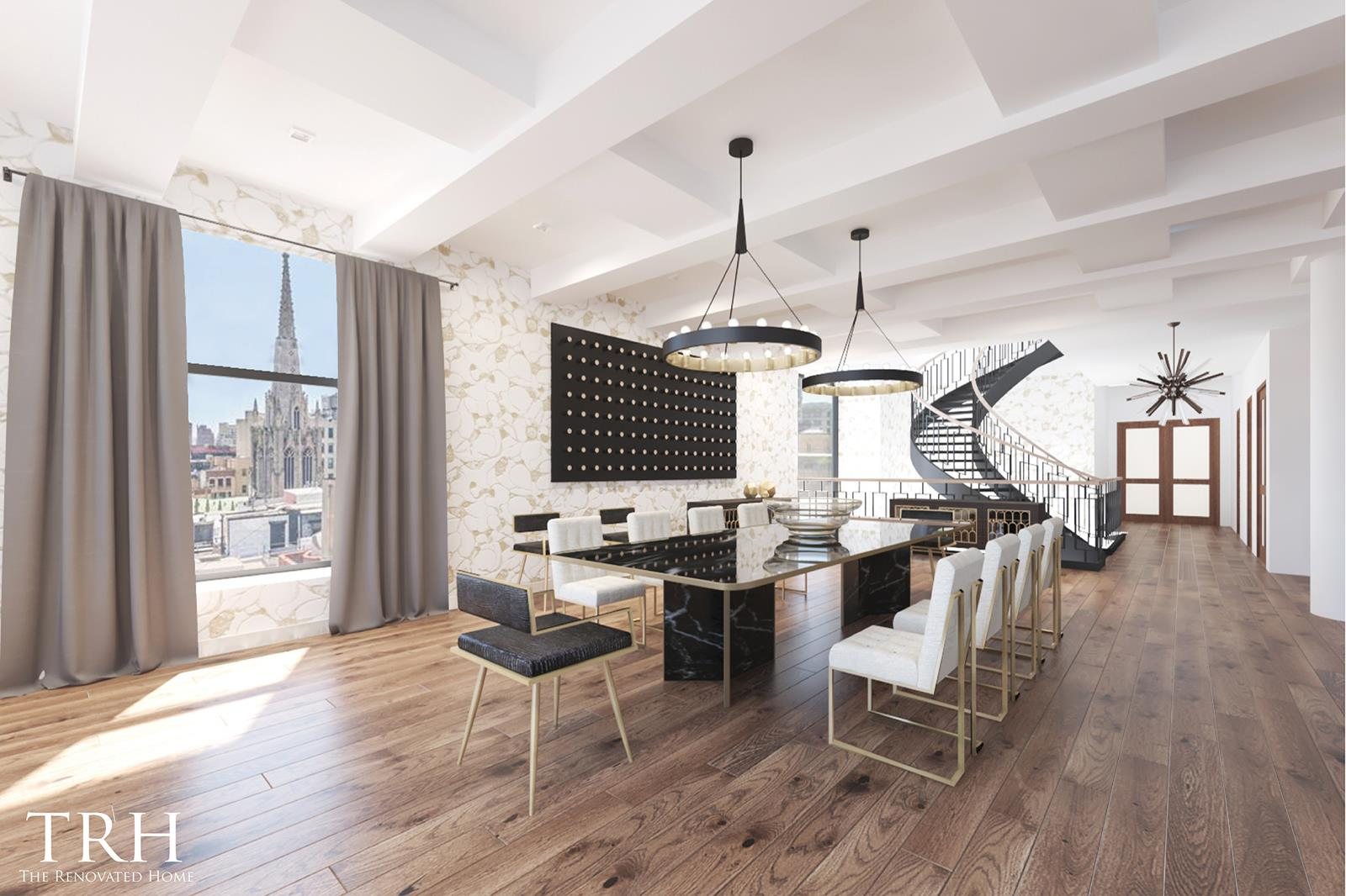 "* UNIT IS BEING OFFERED AS A WHITE BOX WITH A $1,000,000 DESIGN/RENOVATION CREDIT AT CLOSING. ONCE-IN-A-LIFETIME OPPORTUNITY TO DESIGN AND CREATE A TROPHY PENTHOUSE *A one-of-a-kind floor-through triplex graced with a colossal 2,342 sq. ft. rooftop terrace, this stunning 4-bedroom, 7-bathroom penthouse is a blank canvas that, when finished, is sure to become a Greenwich Village masterpiece. The home is mid-renovation, but already has pristine hardwood floors, re-skimmed sheetrock, and all top-of-the-line infrastructure, wiring, and home-automation systems in place. The PH also comes delivered with a top-of-the-line appliance package including a 78-bottle dual zone wine refrigerator, a six-burner Viking range, Miele microwave and steam oven, Bosch dishwasher, and a Sub-Zero 36"" Integrated Combination refrigerator/freezer. Everything else, from lighting and bathroom fixtures to kitchen surfaces and finishes, is patiently awaiting customization.Features of this 7,693 sq. ft. home include airy beamed ceilings, direct keyed elevator to every floor, quadruple exposure, a series of arched casement windows with deep sills, a washer/dryer hookup, a powder room on every floor, a solarium/green house, views of One World Trade Center, Grace Church, and the Empire State Building, and a staggering sky lit spiral staircase with wrought-iron railing and floating wooden planks.Beyond a spacious foyer, the eighth floor of the home opens into an expansive, open-concept living room, dining room, and kitchen. The space is saturated with northern light via an octet of tall arched windows, and a suite of high-end stainless steel appliances are included with the kitchen. The master suite occupies the other half the eighth floor and boasts a gargantuan walk-in closet, a huge dressing room, and a massive en-suite bathroom with 5 windows, wall niches, a walk-in shower, and an enclosed toilet.The seventh floor of the home contains a trio of large bedrooms, a laundry closet, and an additional living/lounge area. Each bedroom possesses a walk-in closet and a full en-suite bathroom. Completing the home is a luxurious private terrace floor, which features a glass-enclosed solarium/green house, a convenient powder room, and breathtaking 360-degree views of the city skyline.66 East 11th is a 19th Century condominium nestled between Union Square and Washington Square Parks. A converted Dress Factory built in 1897, the building has an ornate terra-cotta fac¸ade and dozens of built-in wellness amenities that include purified air and water, bio-based insulation for sound reduction, and vitamin-infused showers. Located in the heart of the Greenwich Village, the building is surrounded by a number of high-end, historic restaurants, bars, cafes, and shops, and has easy access to the rest of the Village, NoHo, SoHo, the Flatiron District, and Gramercy. Pets are welcome."