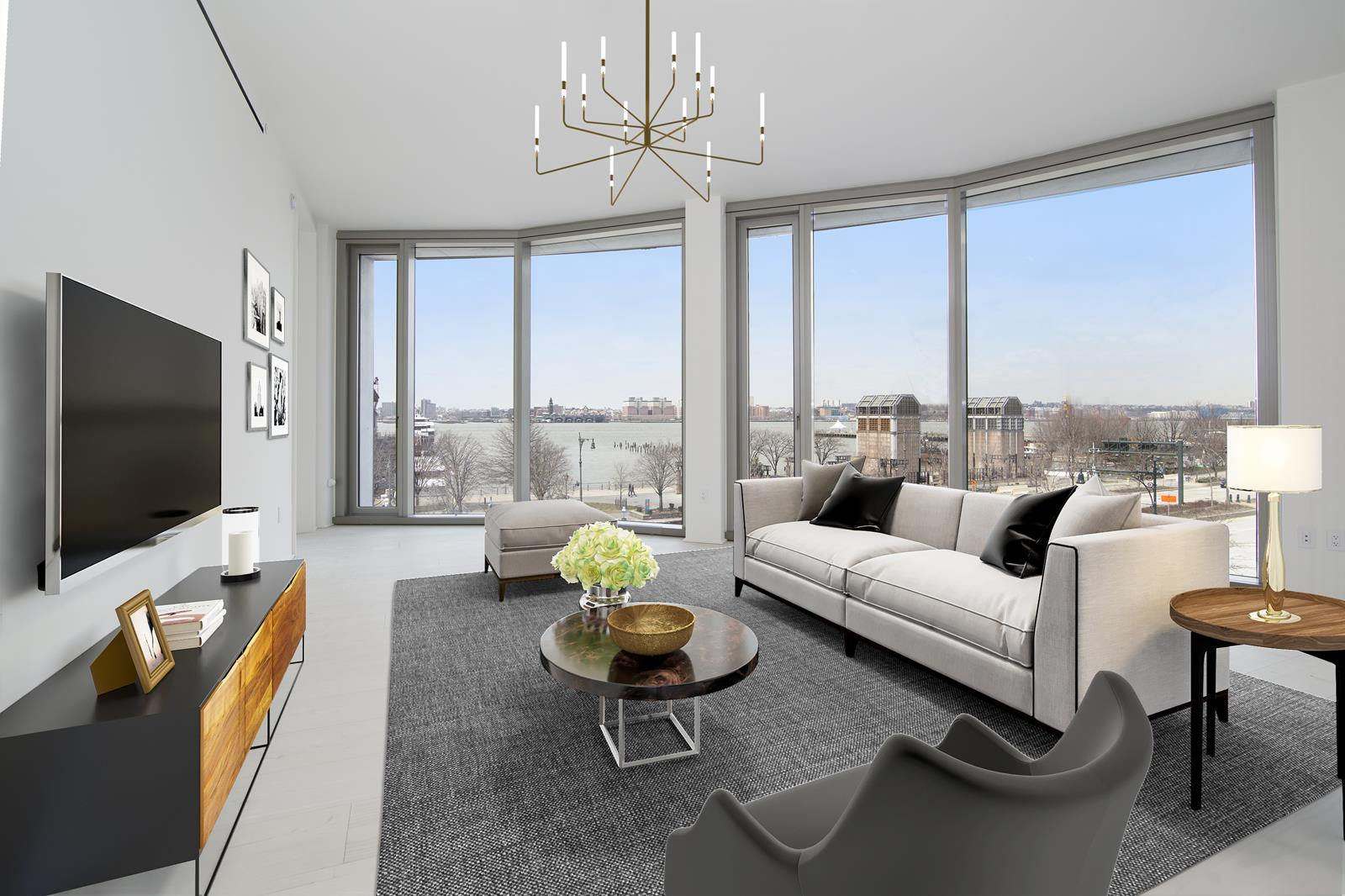 Spectacular Hudson River views from every room of this 1,751 SF 2-bedroom, 2.5-bathroom home. 85 feet of frontage on the Hudson River, 11-foot ceilings, 4 major art walls and unrivaled amenities. Conceptualized by Ian Schrager and designed by Herzog & de Meuron. Be the first to enjoy this truly special home. Apartment features: A carefully crafted floor plan designed for modern living. 12-inch wide-plank Scandinavian Larchwood floors throughout, floor-to-ceiling windows and 11 -foot ceilings. The oversized great room offers incredible light, air and flow. The powder room is paneled in Scandinavian Larchwood and finished with a custom vanity. Bulthaup kitchen with Larchwood cabinets, Sivec marble slab countertops, backsplash and breakfast bar.  All appliances are fully integrated and include a Sub-zero refrigerator, Gaggenau cooktop, Wolf steam oven, Miele dishwasher, Sub-Zero wine refrigerator and a Miele coffee station. The master bedroom suite has a dressing area and a large walk-in closet. The en-suite master bath is fully clad in Sivec marble and offers a large stall shower, soaking tub, double vanity, radiant heated floors and a separate water closet. The second bedroom or library with en-suite bath has a large stall shower and custom vanity with travertine stone walls. California closets in the entire apartment. White sheer curtains throughout the apartment plus blackouts in both bedrooms. All lighting is on a dimming system plus multiple HVAC system zones. Vented washer and dryer. Triple pane windows with UVB/UVA protected glass. No pets. Building Features: A private cobblestone driveway, lush landscaped park by Madison Cox, professional spa with 70-foot pool, whirlpool, fitness center, yoga/pilates studio, steam room, sauna, massage room, club house with catering kitchen and a children's play room. 160 Leroy is situated on a cobblestone street in the heart of the West Village and is conveniently located across from The Hudson River Park and bike paths, steps to The Highline Park, Meatpacking District, home of the Whitney Museum, fabled Bleecker Street, and some of the city's best shopping and restaurants.NET EFFECTIVE RENT ADVERTISED. The advertised rent represents the NER on a 12 month lease with 1 month free.