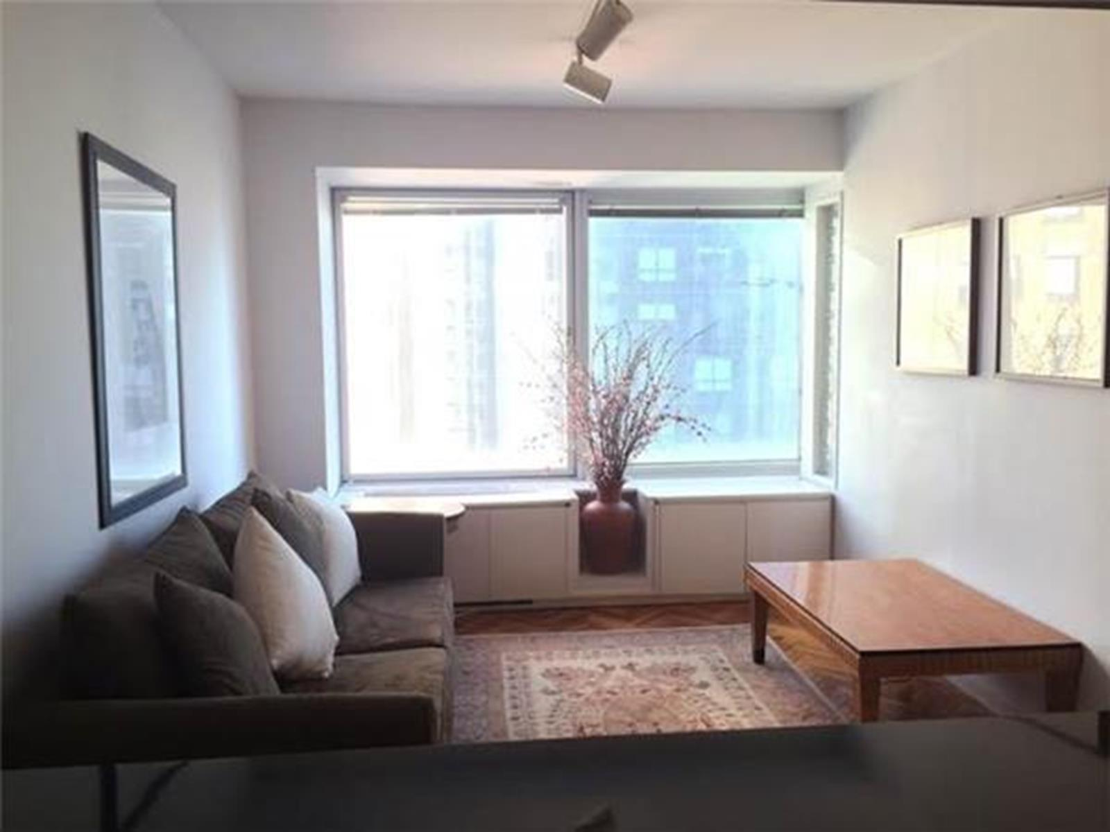 This cozy, FURNISHED junior one bedroom on 34th Floor with some views of City skyline facing North. Located in one of the most sought after luxurious midtown condominiums, CitySpire. This perfect junior one bedroom offers a gallery kitchen, bright living room, bedroom with lots of closets, marble bathroom.