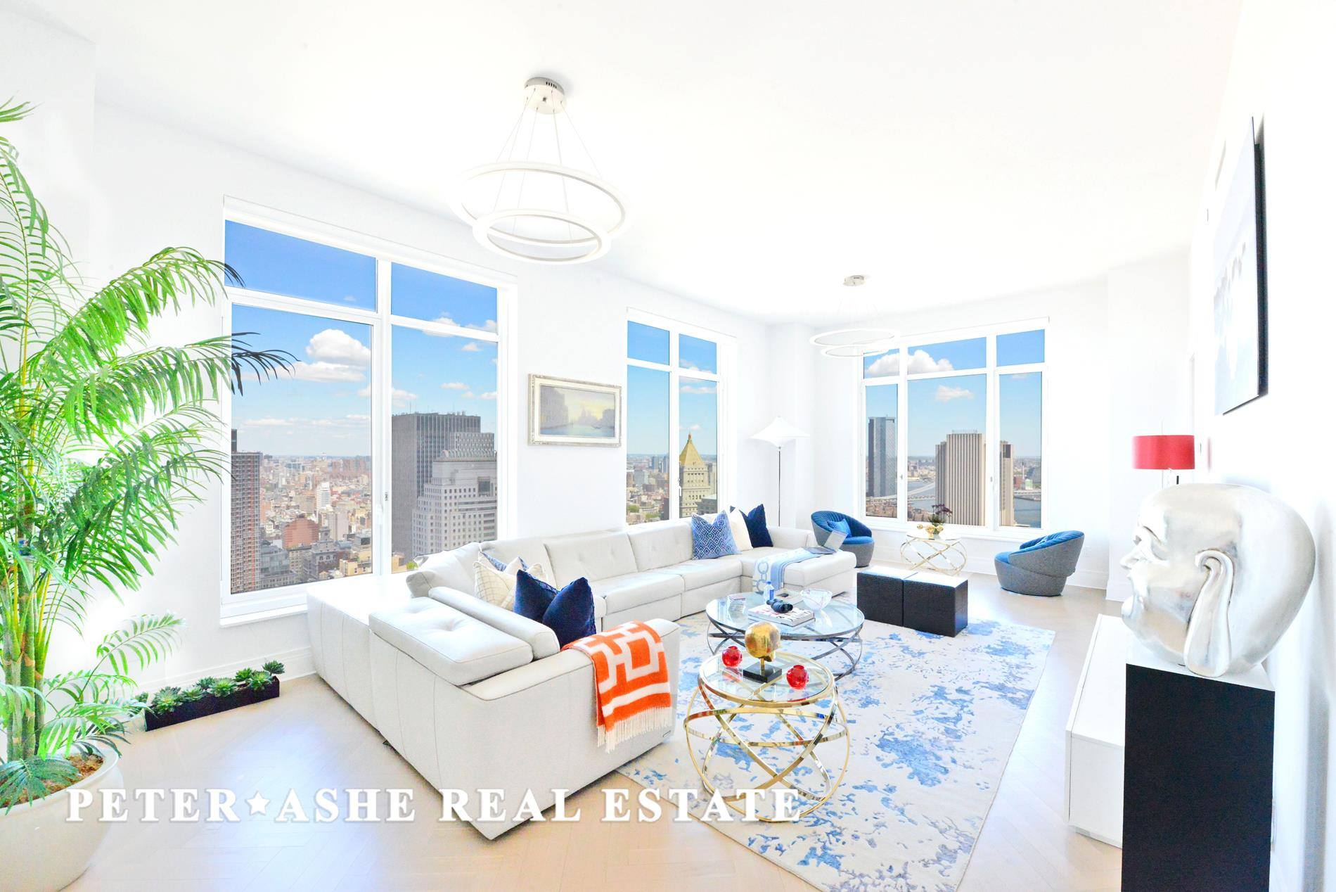 This stunning, 3 bedroom, 3.5 bath residence sits on the northeast corner enjoying views of the Midtown skyline and East River. A windowed Eat-In Kitchen complements the Living/Dining Room. The Master Bedroom Suite features 2 large closets and a 5-fixture bathroom. Welcome to 5-star living at 30 Park Place, Four Seasons Private Residences New York, Downtown. Developed by visionary Silverstein Properties, Inc. Masterfully designed by Robert A.M. Stern Architects. Services by legendary Four Seasons Hotels and Resorts. With residences beginning on the 39th floor, the sweeping views are unparalleled. Residents may enjoy access to Four Seasons Hotel amenities including a spa and salon facilities, 75' swimming pool, attended parking garage, restaurant, bar and lounge, ballroom facilities, and meeting rooms, as well as a comprehensive suite of a la carte services. The 38th floor is devoted to private residential amenities including a fitness center and yoga studio, private dining room, conservatory and lounge with access to loggias, Roto-designed kid's playroom, and screening room. Interior finishes include solid oak wood flooring with herringbone pattern in the formal rooms, Bilotta rift-cut oak kitchen cabinetry, Gaggenau appliances, marble bathrooms with Robert A.M. Stern custom-designed vanities. Systems feature ceiling-hung four-pipe fan coil hvac with dedicated zones and pre-wiring for home automation. Storage bin included!