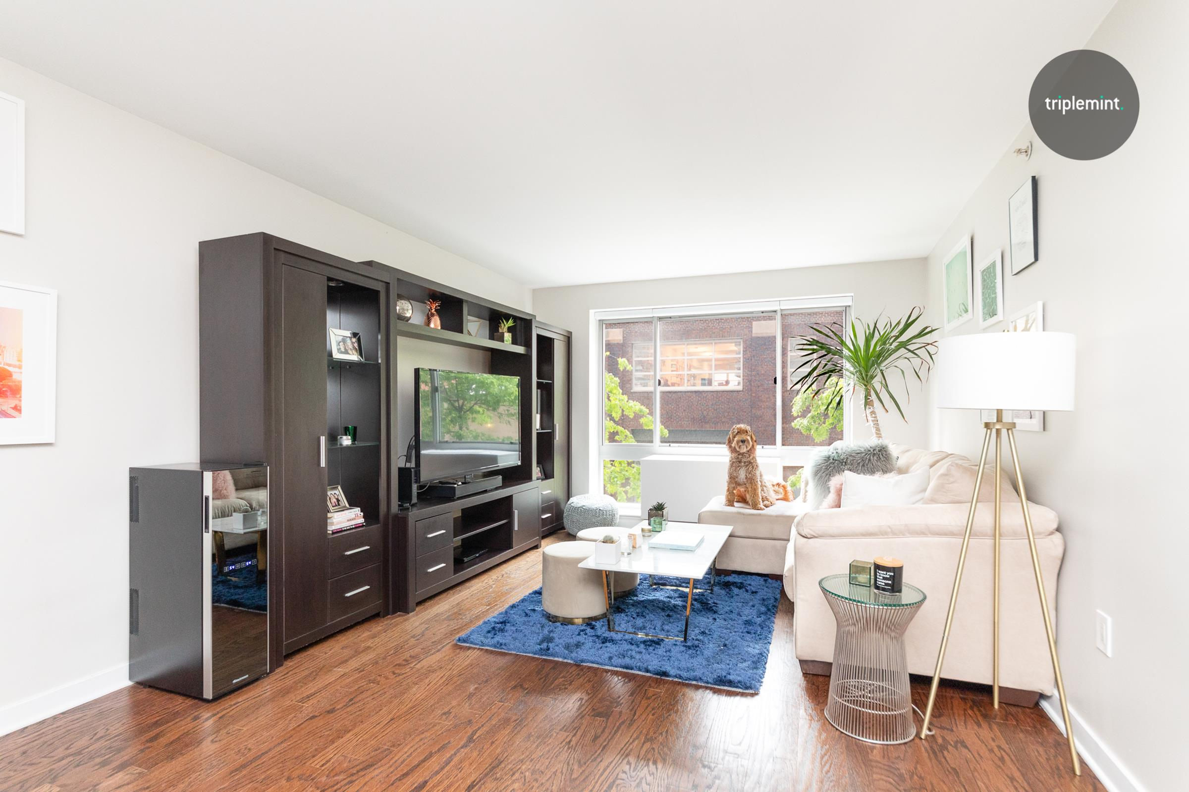 This bright, quiet and spacious one bedroom home is located in a 24-hour, full-service doorman building in prime West Chelsea. The apartment faces 24th street (North) and is very quiet  with tree lined views from all the windows. When you enter this tranquil apartment, you will be greeted with a large open floor plan. The oversized kitchen features granite countertops, full-size stainless steel appliances, and plenty of storage. The entree foyer has two closets, and one closet includes a washer/dryer. The large bathroom is in great renovated condition with plenty of storage both above and below the sink.The living room is large enough for a couch and dining table. Floor-to-ceiling windows overlook the art galleries on 24th street, which allows for great light and tranquillity. The extra large bedroom comfortably fits a king-sized bed, end tables, a dresser, and a chair. The bedroom closet can accommodate a generous wardrobe. You don't need to leave the building to find what you are looking for. The gym has endless equipment from treadmills, ellipticals, pilates machines, weights, and more. The lounge sits above the gym and includes free WiFi. You can escape to read a book, work, or host a private party. The staff is friendly and attentive to all of the residents, and they always go above and beyond. An incredibly friendly community vibe resonates throughout the entire building. 555 West 23rd Street is a hidden haven in West Chelsea. With a stunning waterfall, enclosed atrium, and plant wall, every detail in the building's gorgeous lobby is meticulosity designed. Bike storage and a parking garage are attached to the building. This popular building is surrounded by galleries, the High Line, and an endless amount of restaurants and stores. Right at the end of 23rd Street sits one of the best dog parks in Chelsea and across the West Side Highway, you will find Chelsea Piers and a few parks. Situated just a few blocks from Hudson Yards, houses Neiman Marcus, Cartier, and