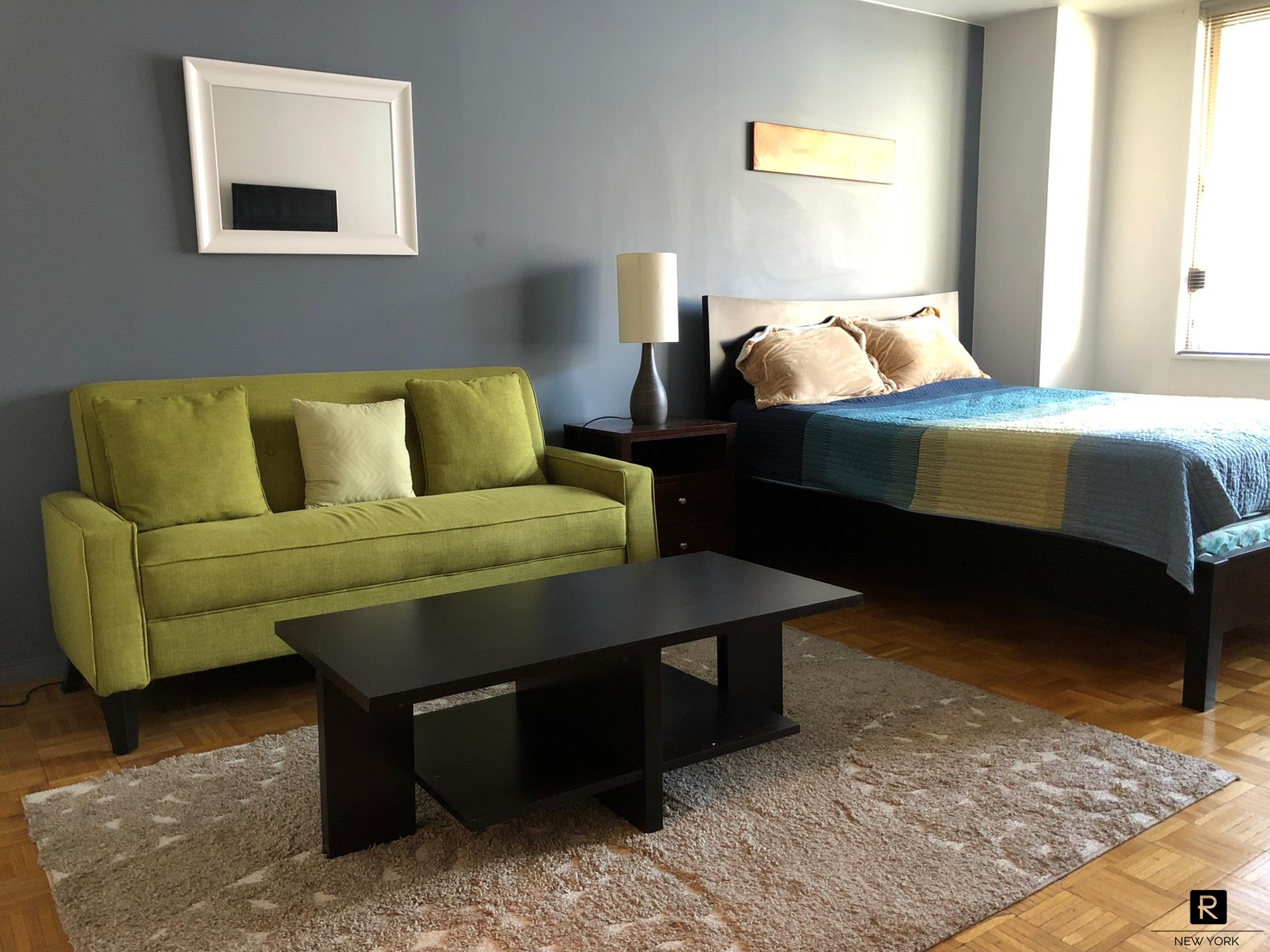 Furnished studio in 24-hour doorman buildingRenovated kitchen and bathroomSunny and quiet unit facing a court yardSubway 1, C, E, N, R, WInquire short term