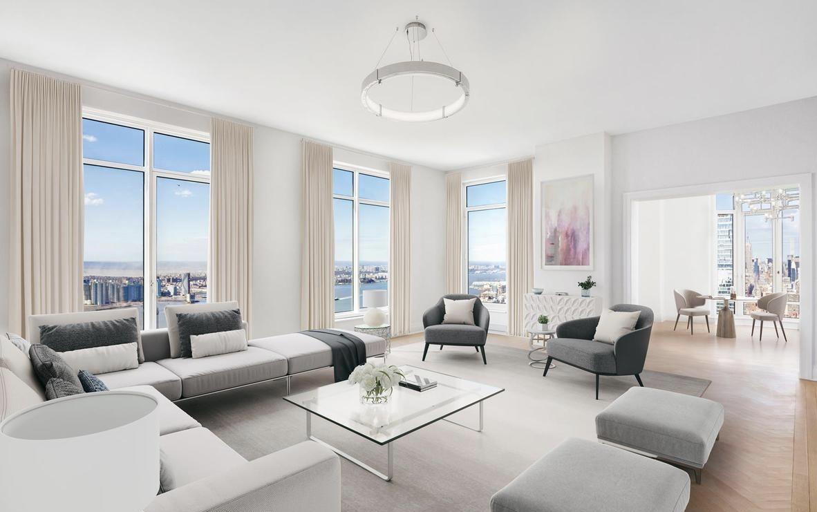 We present to you 30 Park Place, the Four Seasons 5-Star residences in downtown Manhattan. Occupying half of the floor, this 65th floor residence captures sweeping unobstructed views from river to river including the Empire State Building and One World Trade. The master bedroom suite boasts dual bathrooms, his and hers fully built out walk-in closets and dressing area. Other notable details within this residence include a butlers pantry, fully-equipped laundry room with custom built-ins, a separate dedicated service entrance, ceiling heights that soar from 10.6' to 11' high, an advanced pre-wiring for in-home technology, white-oak Bilotta custom-designed kitchen cabinetry featuring Gaggenau appliances and polished marble counter tops, master bathrooms with marble slab floors and countertops, Kallista fittings & accessories and radiant heat flooring; ceiling hung four-pipe fan coil heating and A/C system with dedicated zones; and solid white oak floors in natural matte finish with herringbone pattern in select formal rooms.