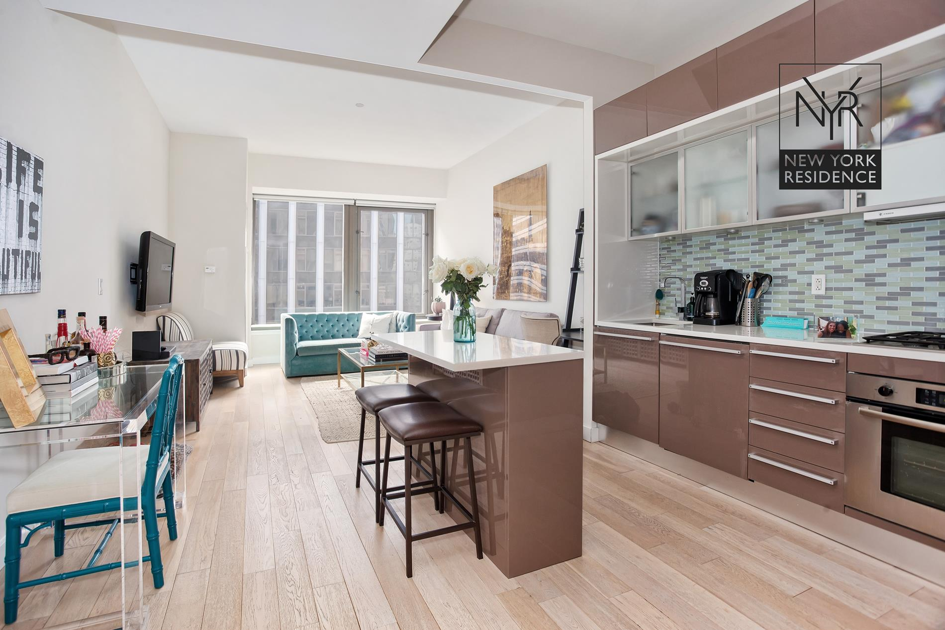 CURRENTLY LEASED FOR $3,400 PER MONTH (plus electric paid by tenant)The current lease term expires on June 30th, 2020 and the tenant has lived in the apartment since June, 2016.75 Wall Street is a luxury residential condominium located above the Hyatt Andaz Hotel on Wall Street.The 43-story tower includes 349 apartments above a new 5 Star Hyatt Andaz hotel designed by The Rockwell Group. The residences begin on the 18th floor and most apartments feature open city views.Apartment Interiors Boffi kitchens, washer & dryer, high ceilings, tall windows and white oak floors. APARTMENT FEATURES:- Open kitchen- Studio + Home Office- Open views from up on the 22nd floor- Washer & dryer- Deep-soaking tub PLUS separate shower stall- Southwest exposure; bright sunlight all dayBUILDING AMENITIES:- 24-hour doorman & concierge- Fitness center- Media room- Lounge- Indoor/outdoor roof deck- A la carte hotel services