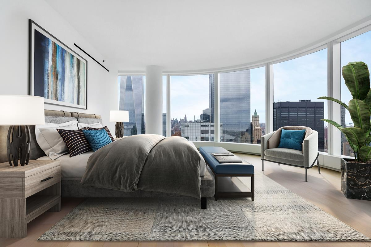 Available July 15th, 2020.FACE TIME TOURS AVAILABLE! Contact listing agent to arrange.Disclaimer: Photos are virtually staged by third partyMassive 3,068 sf half-floor, three-bedroom, three-and-a-half-bath home features a wall of windows and three exposures providing unrivaled panoramic views of NY Harbor and the Statue of Liberty.A gallery leads into the private northern wing with views of the soaring One World Trade from the corner Master Bedroom, a windowed walk-in closet, and a windowed marbled Master Bathroom. The en-suite five-fixture Master Bathroom features a dramatic free-standing tub, double vanity, steam shower, radiant floor heating, and electronic Toto toilet. A separate dressing room offers additional space. Two additional bedrooms feature  en-suite bathrooms, including extensive closets and/or walk in closet. The Great Room on the southern wing features glittering views of Statue of Liberty and New York harbor with an open kitchen layout. The chefs kitchen features custom stained walnut cabinetry, granite countertops and a waterfall island. First-in-class appliances from Miele and Sub-Zero include two wall mounted ovens, gas cooktop, refrigerator, freezer, wine refrigerator, dishwasher and a range hood that vents directly to the outside. The home also has a side by side washer and dryer that is vented outside, as well as a powder room.Building amenities include Rooftop Observatory for your family to enjoy bbq and sunset and a Water Club with 60 Ft swimming pool, hot tub, sauna, and steam room. The state-of-the-art Fitness Center has a golf simulator, spin room, yoga room, and a treatment room for spa services. The entertainment floor has something for everyone from Private Demonstration Kitchen to host dinners, Cinema Screening Room for the theatre experience, Game Room for pool night, Library to study in, and Childrens Playroom and Arts and Crafts room to engage kids mind and bodies. Events and social activities planned by a professional and attentive Amenity company make this building a special and lively community.