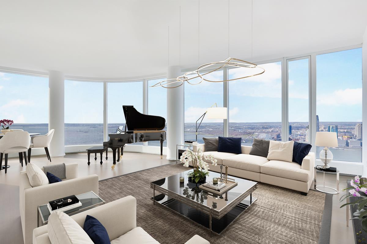 Immediate Occupancy.FACE TIME tours available with the listing agent, PLEASE CALL TO ARRANGE!Disclaimer: Images staged by third party. Video and VR Walkthrough is of a similar unit on 50th fl.This expansive 2,669 square foot 4BR/4BTH home features incredible water views from every room. The southwestern exposures of the floor to ceiling curved windows provide breathtaking panoramic views of the sunset every evening. A gracious foyer leads into the grand living room with an open layout. The Chef's kitchen features custom stained walnut cabinetry, granite countertops, and a waterfall island. First-in-class appliances from Miele and Sub-Zero include two wall mounted convection ovens, 5 burner gas cooktop, side-by-side refrigerator and freezer, wine refrigerator, dishwasher and a range hood that vents directly to the outside.While three of the four bedrooms feature en-suite bathrooms, the master suite includes a floating backlit marble vanity, radiant floor heating, deep soaking tub, rainfall shower and electronic toto toilet with bidet. The master bedroom also features a generous walk-in-closet.Four floors of the luxury residential tower are devoted to state-of-the-art amenities: an immense Fitness Center, the beautifully-appointed Water Club with 60ft lap pool, sauna, steam room, and jacuzzi, unique children's amenities, and The Observatory at 50 West Street, a spectacular 64th floor outdoor entertaining space with seemingly infinite views of New York and beyond.
