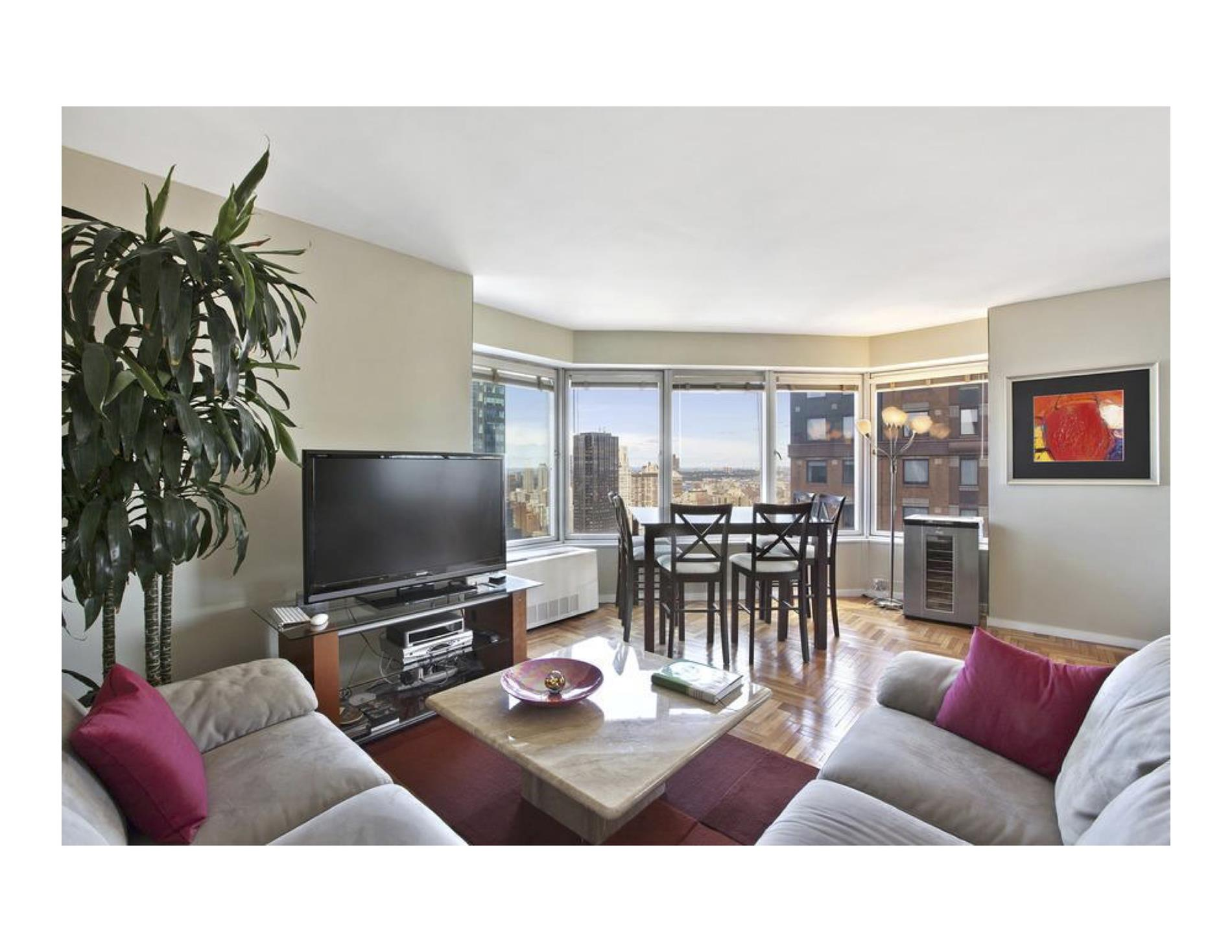 Ideal midtown Manhattan residence, just three short blocks from Central Park.  Lots of sun with North and West views of the city and the Hudson River.  Full-service, established condominium featuring health club with pool, party room, meeting room, garage and laundry facilities on every floor.  No pets.