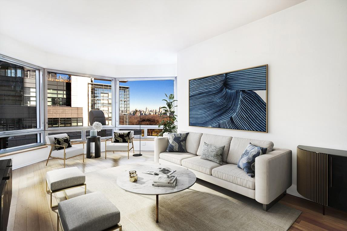 THE APARTMENT:Adjacent to Columbus Circle in the highly desirable A-line at Central Park Place Condominium is this 8th floor, duel exposure home that features a Central Park view.  Apartment 8-A is a clean and sophisticated home that is turn-key ready for your immediate enjoyment as a full time residence or pied-et-terre.   Other notable features include an over-sized, wall-to-wall bay window, kitchen with granite counter-top, and stainless appliances.   A marble bathroom that's been freshly honed and polished, plus a washer/dryer in the apartment.  This listing is digitally staged for your viewing pleasure.THE BUILDING:Central Park Place Condominium features: 24hr doorman and concierge services, resident-only full scale gym, indoor pool, 6th floor outdoor sun deck, resident lounge with free wi-fi, plus four private guest suites which can be reserved for visiting guests.  Central Park Place is also a pet-friendly building for resident owners, and for a minimum monthly fee there is also private caged storage and bike storage available to all residents.NEIGHBORHOOD AMENITIES:Central Park, Whole Foods, Time Warner Center, Equinox, Turnstyle, Lincoln Center, Carnegie Hall, the Theater District, plus a full range of nearby dining and shopping options.CONVENIENT TRANSPORTATION:Subway lines include: A, C, B, D, 1, Q, N, R trains and 57th Street Cross town bus.