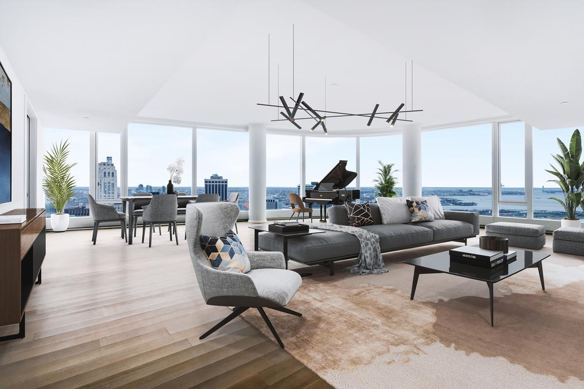 AVAILABLE OCT 1st, 2020Virtual Tour Coming Soon!Penthouse 57A, is one of a few PHs atop a striking curved glass tower 50WEST. At 3,653 square feet, this exceptional 3-bedroom, 4-bathroom penthouse covers half floor, offering expansive South-facing views of New York Harbor and Statue of Liberty, East view, and north-facing views of the Manhattan skyline, Hudson River, and beyond. From an elevator vestibule only shared between 2 PHs on this floor, you will enter this majestic home, through a formal entry gallery. Continuing through, the gallery brings you to a breathtaking oversized living room, with nearly 100 linear feet of floor-to-ceiling glass wrapping the gentle curve of the sprawling space, offering panoramic vistas.Adjacent to the living room, a formal Breakfast/Dining room flows into the kitchen, which boasts a substantial C-shaped counter tops, a center island allowing for both seamless entertaining and daily living. Meticulously designed by Tomas Jul Hansen, the custom Stevali kitchen features dark stained walnut cabinetry, granite waterfall countertop and backsplash, and top-of-the-line appliances by Miele and Sub-Zero, 6 burner gas cooktop with built-in canopy hood, two ovens, two integrated dishwashers, steam oven, speed oven, refrigerator, freezer and wine refrigerator.Secluded in the Northeast wing of the residence, the grand corner primary suite, offers stunning One World Trade Center Tower view and good-morning sunrise East-facing views. Primary suite offers two massive walk-in closets plus huge windowed dressing room. Windowed en-suite bath finished with custom slab marble feature walls, radiant heated floors, steam shower, sauna, Toto water closet, and double vanities. Two additional light-filled bedrooms feature an en suite bath and have an incredible water views. A full Fourth Bath, washer, vented dryer and oak hard-wood floor through complete this magnificent Penthouse residence.