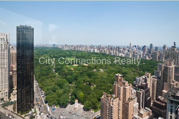 Come home to panoramic, unobstructed, multi-million dollar views of Central Park, the Hudson River, and beyond.THE APARTMENT:Enjoy these views while perfectly perched on the 45th floor.  This rare and stunning home is a spacious 887 square foot, 1 bedroom, plus two full bath apartment, with newly restored hardwood flooring, and an upgraded kitchen, plus there's a washer/dryer in the apartment. THE BUILDING:Central Park Place Condominium features: 24hr white-glove doorman and concierge services, resident-only full scale gym, indoor pool, 6th floor outdoor sun deck, resident's lounge with free wi-fi. bike storage and four private guest suites which can be reserved for visiting guests. Convenient transportation lines include: A, C, B, D, 1, Q, N, R trains and 57th Street Cross town bus. NOTES:Application processing requires a minimum of 2 - 3 weeks for approval. Sorry, no pets.