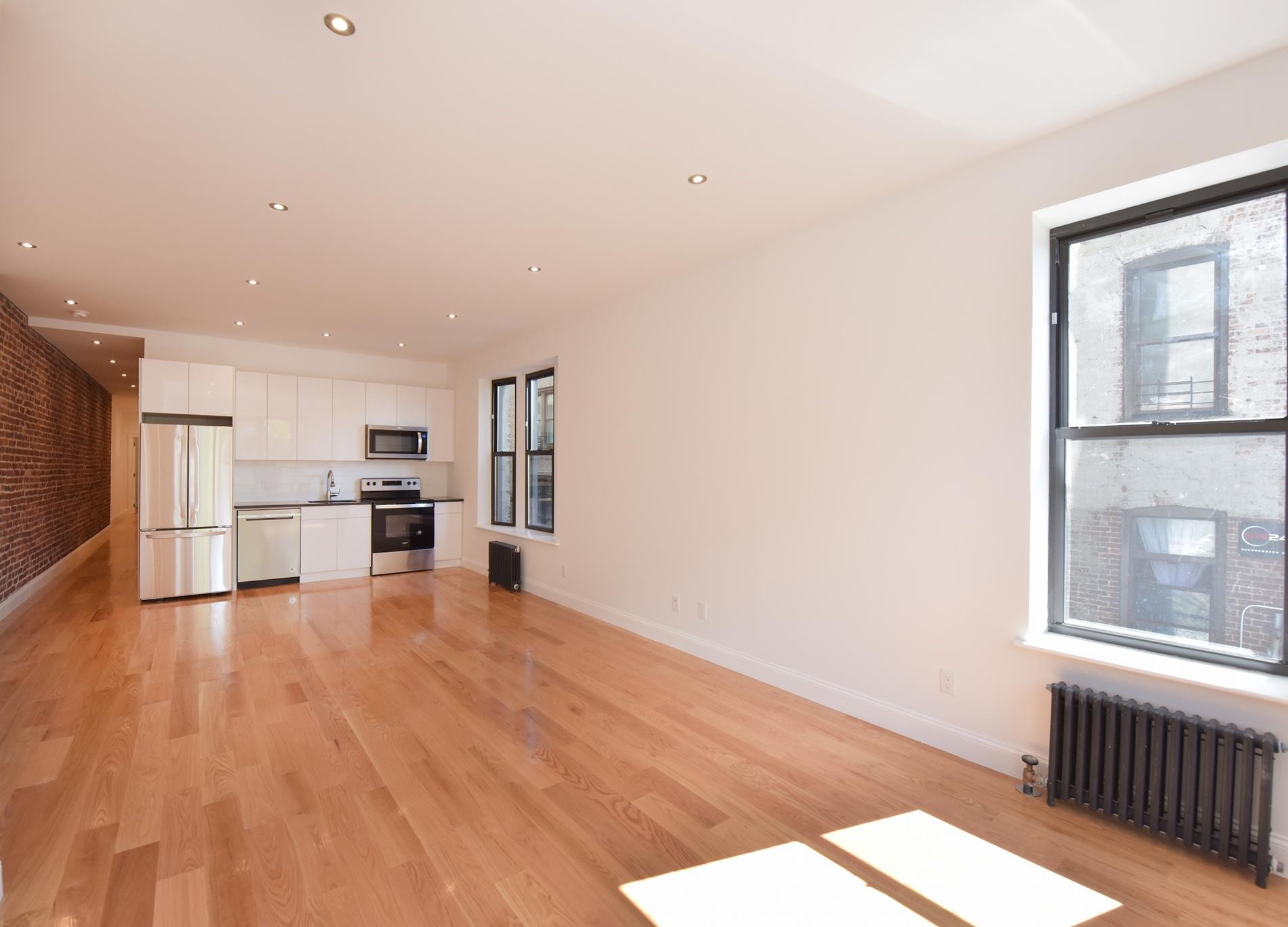 Oversized, Meticulously Gut Renovated 3 Bedroom Sponsor Unit Overlooking Riverside Park. No Board Approval Required, Low Maintenance.Come home to this oversized 3BR apartment at 640 W. 139th Street, aka 618 Riverside Drive. Located on Riverside Drive facing west, this unit offers scale, functionality and protected views of Riverbank State Park. No detail was spared during this complete and meticulous gut renovation with high end condo finishes. This beautiful and spacious apartment seamlessly merges historic prewar detail with stylish and modern design, giving the home a classic downtown loft feel.Upon entering the apartment, you are welcomed by a foyer/mudroom coupled with 10 foot ceilings and recessed lighting throughout. Down a long hallway flanked by walls of exposed brick, you have three bedrooms with an office that offers a layout conducive for good separation and privacy within the home. The master bedroom comes equipped with double-wide closets that can easily accommodate a king-sized bed and furniture set. As you traverse the hall, to the left you have a flexible layout which is currently comprised of a full bathroom, home office, and two additional full-size bedrooms. NOTE: There are no load-bearing walls from north to south in the unit, so possible reconfiguration of the space is fully achievable and the office can seamlessly be converted into a second bathroom. At the end of the hallway, you are greeted by a sprawling 35 x 13'7' loft-like living/dining area that faces west onto Riverside Park. Off the living room you will find an open chef's kitchen fully equipped with new stainless steel appliances. The living room benefits from southern and western exposure offering a constant stream of natural light making the space bright, airy, open and perfect for entertaining.  640 West 139th offers a tremendous opportunity with great upside and makes sense for users or investors. The building permits and offers the following: No Board approval, an unlimited suble