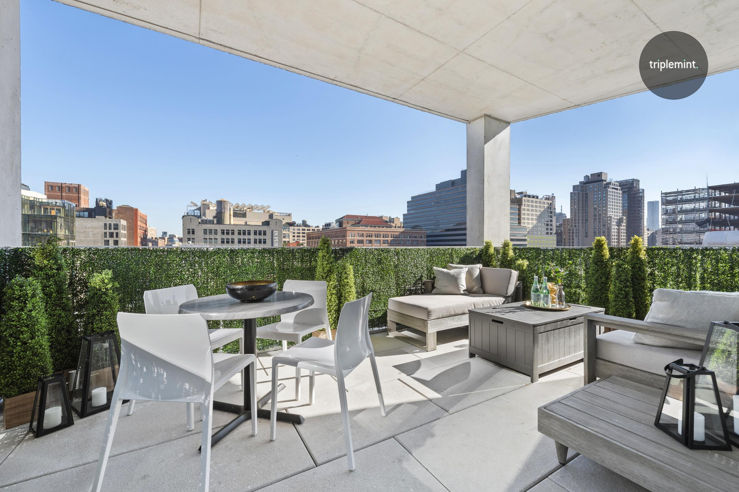 A show-stopping collaboration between Ian Schrager and Herzog & De Meuron, 160 Leroy is arguably the most iconic addition to the West Village waterfront. North 10C is the highest floor offered of this incredible two-bedroom layout and is ready for its new owner. Upon entering the 1,728 square foot home, you are immediately taken by the 11-foot ceilings, 12-inch wide Scandinavian Larch wood floors, and the glass wall of windows. It is immediately apparent that this home is unlike any other property offered in Manhattan. The entry features a beautifully designed powder room with a floating marble vanity and custom Corian sink finished with brushed copper fixtures and beautiful lighting.Off the long entry hall is where both generously proportioned bedrooms are located. Each bedroom faces north with full en-suite bathrooms and custom-built closets. The dramatic primary bedroom fits king sized furniture and features a stunning 5 fixture marble bathroom.The living room is dripping with wow factor that will take your breath away. The floor-to-ceiling windows on all three sides offer views in every direction, featuring the Empire State Building, Hudson River, and sweeping views across the village.Off of the living room, your private terrace awaits you which is nearly 200 square feet. Enjoy your coffee and evening sunsets with northern, eastern, and southern exposures.The kitchen is a custom designed, Bulthaup Kitchen with Scandinavian Larch wood cabinets and hand selected Sivec marble slab, countertops, and backsplash. The appliances include a Sub-Zero refrigerator/freezer, Wolf oven, Gaggenau cooktop, Miele dishwasher, Sub-Zero wine refrigerator, Wolf coffee/espresso machine, and a Wolf steam oven. 160 Leroy is a full-service building with a 24-hour doorman and concierge,     cobblestone porte-cochere, spa with 70-foot pool, whirlpool, fitness center, yoga/Pilates studio, steam room, sauna, massage room, children's playroom, and clubhouse with catering kitchen.