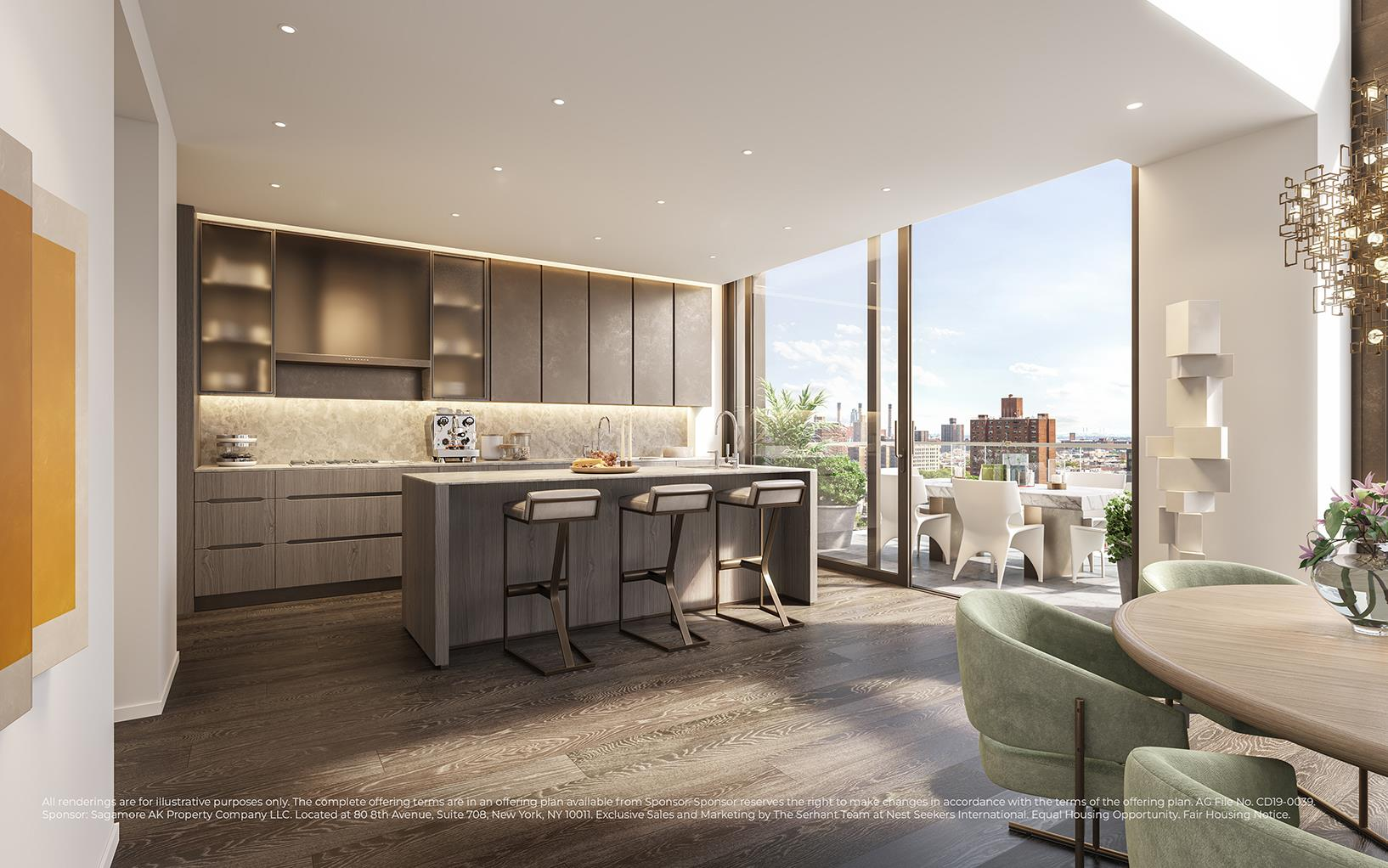 IMMINENT OCCUPANCYA luxurious condo crafted by renowned designer, Thomas Juul-Hansen, this bespoke 1,387 sq. ft. 2-bedroom, 2.5-bathroom home blends a curated collection of elegant fixtures and finishes with thoughtful layouts that maximize space and natural light.Features include designer-selected European wide-plank oak floors, oversized double-pane windows with eastern exposure, a laundry closet with an externally-vented Whirlpool washer/dryer, energy-efficient multi-zone heating and cooling, Rift Sawn oak closets, and a pair of private balconies totaling 127 sq. ft. with unobstructed views overlooking Sara D. Roosevelt Park.Beyond a tasteful entryway adorned with a coat closet and powder room, the home flows into a bright, open-concept living room, dining room, and kitchen. The living room leads out onto a spacious terrace, while the kitchen is equipped with an eat-in peninsula, honed marble countertops, a matching backsplash, custom white oak cabinets with tempered bronze glass, Dornbracht fixtures, and a suite of high-end fully-integrated appliances from Miele and Sub-Zero.The master bedroom possesses a spacious reach-in closet, access to a private balcony, and a sublime en-suite bathroom with honed marble walls and floors, a custom medicine cabinet with integrated lighting, double sinks, and a walk-in shower, and a deep soaking tub. The second bedroom has its own closet space, balcony access, and a lovely en-suite bathroom.A collection of interlocking villas designed by Thomas Juul-Hansen, 199 Chrystie is a luxury condominium that sits at the nexus of an incredibly dynamic, multi-neighborhood location. It is surrounded by endless retail, social, and food and drink options, and has easy access to the Lower East Side, NoLita, NoHo, SoHo, and the East Village. It is around the corner from Whole Foods, and is close to the B/D/F/M/J/Z/R/W/6 subway lines. The building has a full-service amenities package that includes a custom designed 24-hour attended lobby, priva