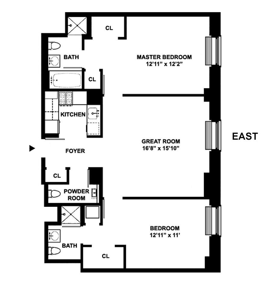 Floor plan of 100 West 58th St, 15C - Midtown, New York