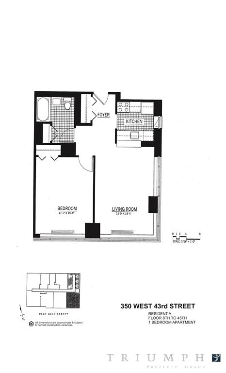 Floor plan of Ivy Tower, 350 West 43rd Street, 21A - Clinton, New York