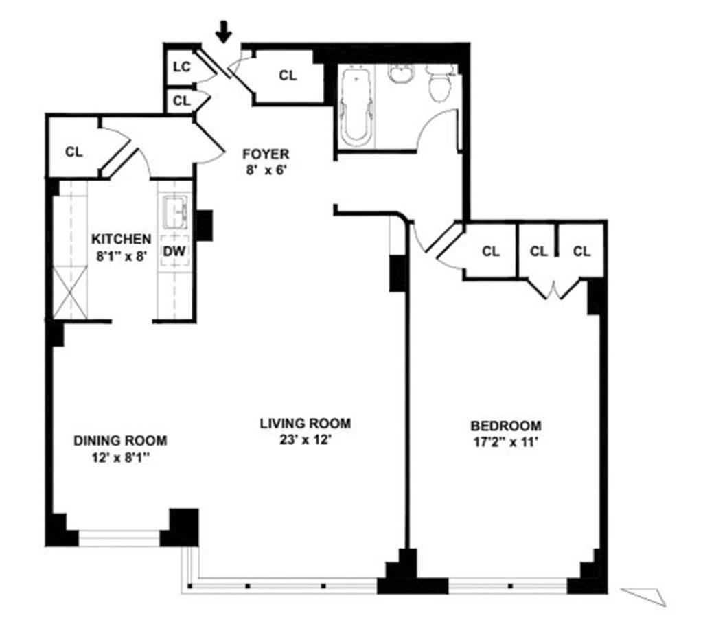 Floor plan of THE HAWTHORNE, 211 East 53rd Street, 7J - Midtown, New York