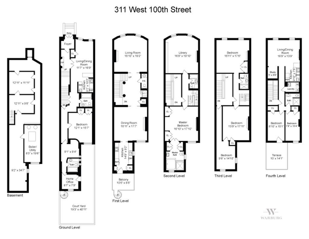 311 west 100th street townhouse upper west side ny 10025 floorplan