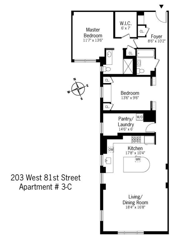 Floor plan of THE BARRINGTON, 203 West 81st Street, 3C - Upper West Side, New York